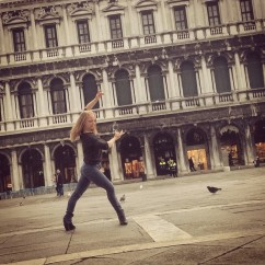Improvising in San Marco Square, Venice, Italy